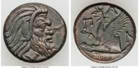 CIMMERIAN BOSPORUS. Panticapaeum. 4th century BC. AE (20mm, 6.32 gm, 10h). VF. Head of bearded Pan right / Π-A-N, forepart of griffin left, sturgeon l...