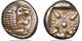 IONIA. Miletus. Ca. late 6th-5th centuries BC. AR 1/12 stater or obol (9mm). NGC Choice XF S. Milesian standard. Forepart of roaring lion left, head r...