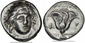 CARIAN ISLANDS. Rhodes. Ca. 305-275 BC. AR didrachm (19mm, 11h). NGC Choice VF. Head of Helios facing, turned slightly right, hair parted in center an...
