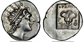 CARIAN ISLANDS. Rhodes. Ca. 88-84 BC. AR drachm (15mm, 11h). NGC AU. Plinthophoric standard, Thrasyme(des), magistrate. Radiate head of Helios right /...