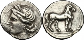 Bruttium, Carthaginians in South-West Italy. AR Quarter Shekel, c. 215-205