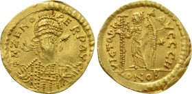 ZENO (Second reign, 476-491). GOLD Solidus. Contemporary imitation of Constantinople.