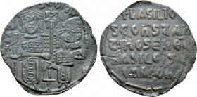 BASIL I THE MACEDONIAN with CONSTANTINE (867-886). Follis. Constantinople.