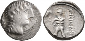 CELTIC, Central Gaul. Aedui. 50-30 BC. Quinarius (Silver, 13 mm, 1.94 g, 7 h), Dubnocoveros and Dubnorex. [DVBNOCOV] Female head to right. Rev. [DV]BN...