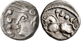 CELTIC, Central Gaul. Sequani. Circa mid 1st century BC. Quinarius (Silver, 12 mm, 1.88 g, 1 h), Q. Doci and Sam. F. Q DOCI Celticized head of Roma to...