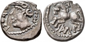 CELTIC, Central Gaul. Sequani. Mid 1st century BC. Quinarius (Silver, 13 mm, 1.84 g, 11 h), Q. Doci and Sam. F. Q • DOCI Celticized head of Roma to le...