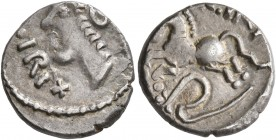 CELTIC, Central Gaul. Sequani. Mid 1st century BC. Quinarius (Silver, 14 mm, 2.00 g, 2 h), Togirix. [TO]GIRIX Celticized head of Roma to left. Rev. [T...