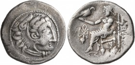 CELTIC, Lower Danube. Uncertain tribe. Circa 2nd century BC. Drachm (Silver, 19 mm, 3.55 g, 1 h), imitating Philip III of Macedon. Celticized head of ...