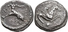 CALABRIA. Tarentum. Circa 490-480 BC. Didrachm or Nomos (Silver, 19 mm, 7.00 g, 6 h). ΤΑΡΑΣ Youthful oikist, nude, riding dolphin to right, holding cu...