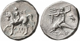 CALABRIA. Tarentum. Circa 272-240 BC. Didrachm or Nomos (Silver, 20 mm, 6.44 g, 9 h), Sy... and Lykinos, magistrates. Nude youth riding horse walking ...