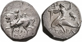 CALABRIA. Tarentum. Circa 272-240 BC. Didrachm or Nomos (Silver, 20 mm, 6.42 g, 12 h), Sy... and Lykinos, magistrates. ΣY - ΛYKI/NOΣ Nude youth riding...
