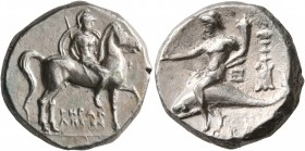 CALABRIA. Tarentum. Circa 272-240 BC. Didrachm or Nomos (Silver, 19 mm, 6.54 g, 6 h), Herakletos, magistrate. Nude rider on horse walking to right, ho...