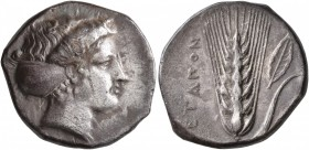 LUCANIA. Metapontion. Circa 400-340 BC. Didrachm or Nomos (Silver, 21 mm, 7.53 g, 7 h). Head of Demeter to right, her hair bound in sphendone. Rev. [M...