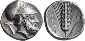 LUCANIA. Metapontion. Circa 340-330 BC. Didrachm or Nomos (Silver, 20 mm, 7.78 g, 11 h). Bearded head of Leukippos to right, wearing Corinthian helmet...