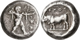 LUCANIA. Poseidonia. Circa 470-445 BC. Stater (Silver, 17 mm, 7.92 g, 7 h). ΠOME Poseidon striding to right, brandishing trident with his right hand a...
