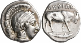 LUCANIA. Thourioi. Circa 443-400 BC. Didrachm or Nomos (Silver, 21 mm, 7.82 g, 1 h). Head of Athena to right, wearing crested and laureate Attic helme...