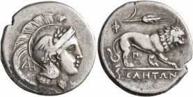 LUCANIA. Velia. Circa 300-280 BC. Didrachm or Nomos (Silver, 22 mm, 7.37 g, 10 h). Head of Athena to right, wearing crested, winged and laureate Attic...