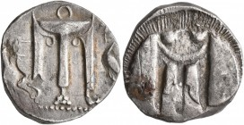 BRUTTIUM. Kroton. Circa 480-430 BC. Stater (Silver, 20 mm, 7.83 g, 10 h). ϘΡΟ Tripod with three handles and the legs ending in lion's paws; to right, ...