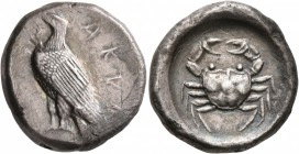 SICILY. Akragas. Circa 495-480/78 BC. Didrachm (Silver, 21 mm, 8.50 g, 5 h). AKPA Eagle standing left with closed wings. Rev. Crab within shallow circ...