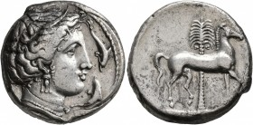 SICILY. Entella (?). Punic issues, circa 345/38-320/15 BC. Tetradrachm (Silver, 25 mm, 16.92 g, 10 h). Head of Tanit-Persephone to right, wearing wrea...