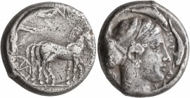 SICILY. Syracuse. Second Democracy, 466-405 BC. Tetradrachm (Silver, 23 mm, 16.92 g, 4 h), circa 420-415. Charioteer driving quadriga walking to right...