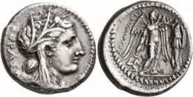 SICILY. Syracuse. Agathokles, 317-289 BC. Tetradrachm (Silver, 27 mm, 16.92 g, 7 h), circa 310-306/5. KOPAΣ Head of Kore to right, wearing wreath of g...