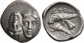 MOESIA. Istros. Circa 340/30-313 BC. Drachm (Silver, 20 mm, 4.76 g, 9 h). Two facing male heads side by side, one upright and the other inverted. Rev....