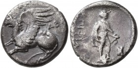 THRACE. Abdera. Circa 386/5-375 BC. Tetrobol (Silver, 14 mm, 2.67 g, 2 h), Philaios, magistrate. Griffin seated left; below wing, AB[Δ]. Rev. ΕΠI ΦΙΛ[...