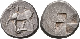 THRACE. Byzantion. Circa 340-320 BC. Siglos (Silver, 17 mm, 5.30 g). ΠΥ Bull standing left on dolphin left. Rev. Quadripartite incuse square of mill s...