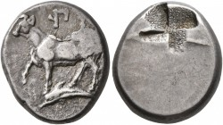 THRACE. Byzantion. Circa 340-320 BC. Siglos (Silver, 17 mm, 5.35 g). ΠΥ Bull standing left on dolphin left. Rev. Quadripartite incuse square of mill s...