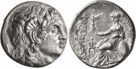 KINGS OF THRACE. Lysimachos, 305-281 BC. Tetradrachm (Silver, 28 mm, 16.53 g, 4 h), Ainos, circa 280-250. Diademed head of Alexander the Great to righ...