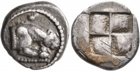 MACEDON. Akanthos. Circa 480-470 BC. Tetrobol (Silver, 14 mm, 2.64 g). Forepart of a lioness to right, head seen from above; above, conch shell. Rev. ...