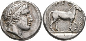 KINGS OF MACEDON. Archelaos Philopatris Ktistes, 413-400/399 BC. Stater (Silver, 23 mm, 10.63 g, 2 h), Aigai. Head of Apollo to right, wearing tainia....