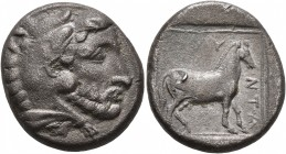 KINGS OF MACEDON. Amyntas III, 393-370/69 BC. Stater (Silver, 22 mm, 9.24 g, 1 h), Aigai. Bearded head of Herakles to right, wearing lion skin headdre...