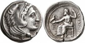 KINGS OF MACEDON. Alexander III 'the Great', 336-323 BC. Tetradrachm (Silver, 27 mm, 17.09 g, 5 h), Amphipolis, 325-323/2. Head of Herakles to right, ...