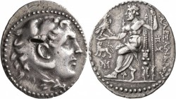KINGS OF MACEDON. Alexander III 'the Great', 336-323 BC. Tetradrachm (Silver, 33 mm, 16.59 g, 12 h), Miletos, circa 190-165. Head of Herakles to right...