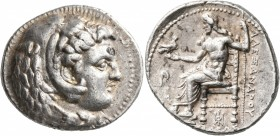 KINGS OF MACEDON. Alexander III 'the Great', 336-323 BC. Tetradrachm (Silver, 28 mm, 17.27 g, 10 h), Babylon, 325-323. Head of Herakles to right, wear...