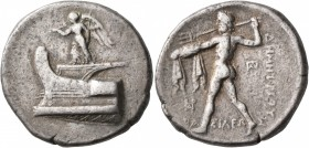 KINGS OF MACEDON. Demetrios I Poliorketes, 306-283 BC. Tetradrachm (Silver, 29 mm, 17.01 g, 1 h), Salamis, circa 300-295. Nike, blowing a trumpet and ...
