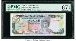 Belize Central Bank 10 Dollars 1.7.1983 Pick 44a PMG Superb Gem Unc 67 EPQ.   HID09801242017  © 2020 Heritage Auctions | All Rights Reserved