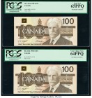 Canada Bank of Canada $100 1988 BC-60d Two Consecutive Examples PCGS Gem New 65 PPQ; Very Choice New 64 PPQ.   HID09801242017  © 2020 Heritage Auction...