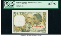 Comoros Banque de Madagascar et des Comores 100 Francs ND (1963) Pick 3b PCGS Gem New 66 PPQ.   HID09801242017  © 2020 Heritage Auctions | All Rights ...