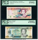 East Caribbean States Central Bank, St. Kitts 20 Dollars ND (1994) Pick 33k PCGS Superb Gem New 67 PPQ; Belize Central Bank of Belize 10 Dollars 1.5.1...