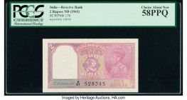 India Reserve Bank of India 2 Rupees ND (1943) Pick 17b Jhun4.2.2 PCGS Choice About New 58 PPQ.   HID09801242017  © 2020 Heritage Auctions | All Right...