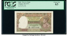 India Reserve Bank of India 5 Rupees ND (1937) Pick 18a Jhun4.3.1 PCGS Choice New 63.   HID09801242017  © 2020 Heritage Auctions | All Rights Reserved...
