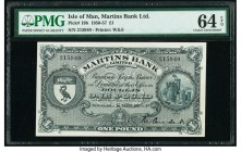 Isle Of Man Martins Bank Limited 1 Pound 1.2.1957 Pick 19b PMG Choice Uncirculated 64 EPQ.   HID09801242017  © 2020 Heritage Auctions | All Rights Res...