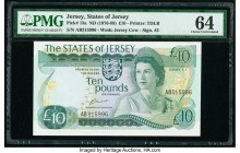 Jersey States of Jersey 10 Pounds ND (1976-88) Pick 13a PMG Choice Uncirculated 64. PMG mentions Good Embossing.  HID09801242017  © 2020 Heritage Auct...