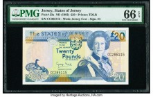 Jersey States of Jersey 20 Pounds ND (1993) Pick 23a PMG Gem Uncirculated 66 EPQ.   HID09801242017  © 2020 Heritage Auctions | All Rights Reserved