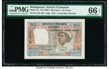 Madagascar Institut d'Emission 50 Francs = 10 Ariary ND (1961) Pick 51a PMG Gem Uncirculated 66 EPQ.   HID09801242017  © 2020 Heritage Auctions | All ...