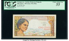 Madagascar Institut d'Emission 500 Francs = 100 Ariary ND (1966) Pick 58a PCGS Choice About New 55. Pinholes at left; stains; rust.  HID09801242017  ©...