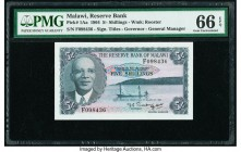 Malawi Reserve Bank of Malawi 5 Shillings 1964 Pick 1Aa PMG Gem Uncirculated 66 EPQ.   HID09801242017  © 2020 Heritage Auctions | All Rights Reserved